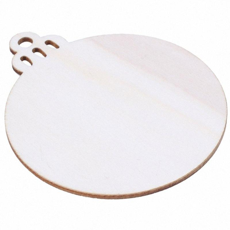 10pcs Wooden Round Bauble Hanging Christmas Tree Blank Decorations Gift Tag Shapes c4D0#