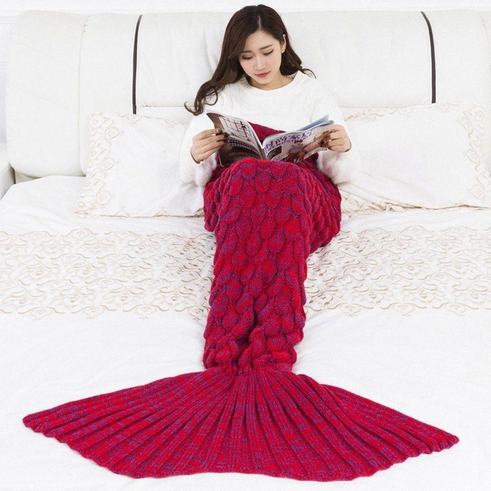 Douce Tricoté sirène queue Blanket crochet à la main Sac de couchage pour les enfants adultes meilleur anniversaire cadeau de Noël ZZBe #