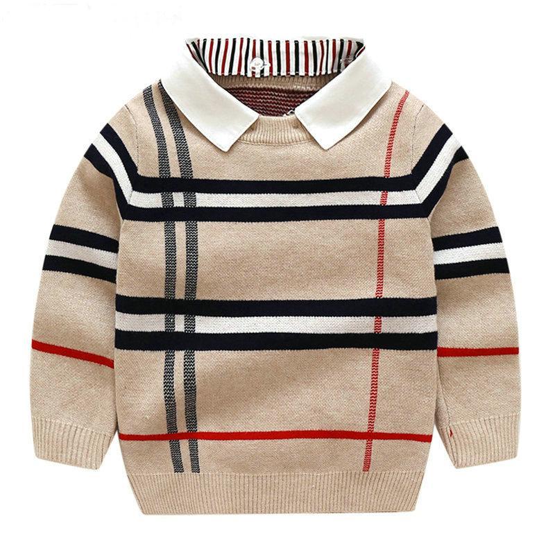 Çocuk Erkek Sweatershirt Sonbahar Kış Kazak Ceket Ceket Toddle Için Bebek Erkek Kazak 2-7 Yıl Boys Giysileri