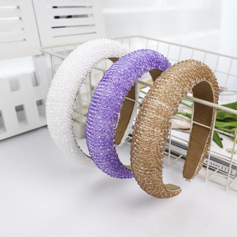 Handgemachte wulstiger Winding Haarschmuck Barock-Kristallkorn Stirnband Weiblicher Haarschmuck Designer neue Art und Weise Stirnbänder