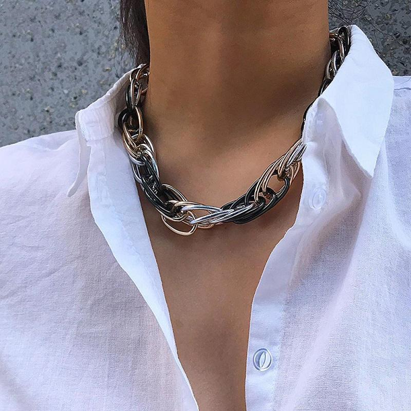 Punk Hip Hop Curb Cuban Twisted Chain Choker Necklace Vintage Mix Color Chunky Thick Collar Necklaces for Women Men Statement Jewelry Gift