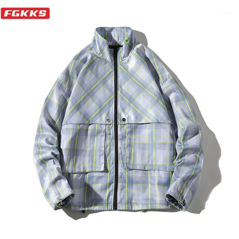 FGKKS мода бренд мужские куртки мужчины Harajuku стиль тенденция куртка пальто одежда мужская тонкая легкая клетчатая куртка