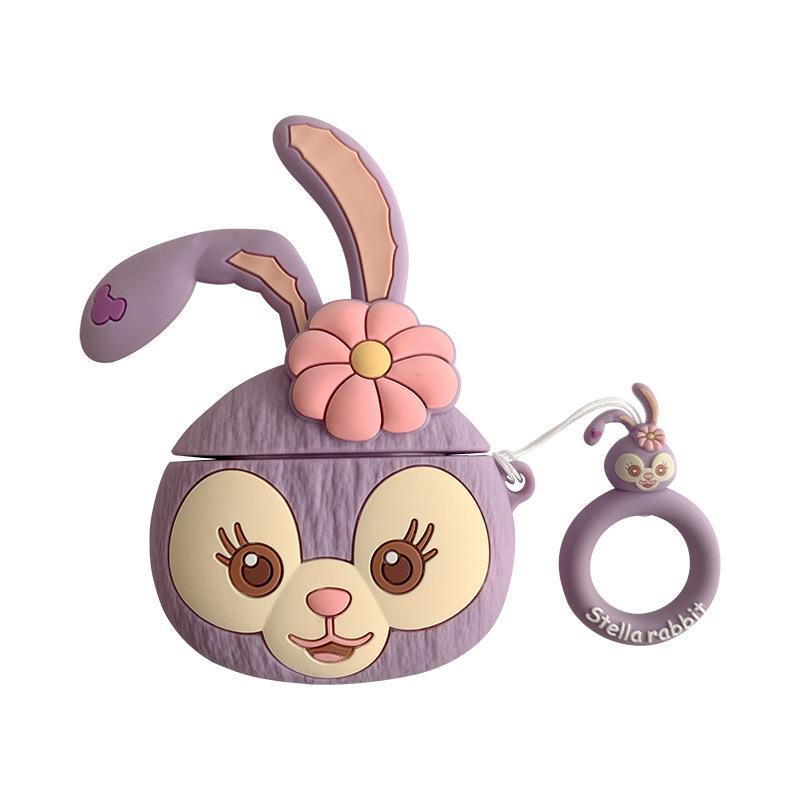 Case Cover del fumetto 3D del coniglio sveglio scimmia protettiva in silicone per AirPods 1 2 3 4 con la maniglia dell'anello di corda