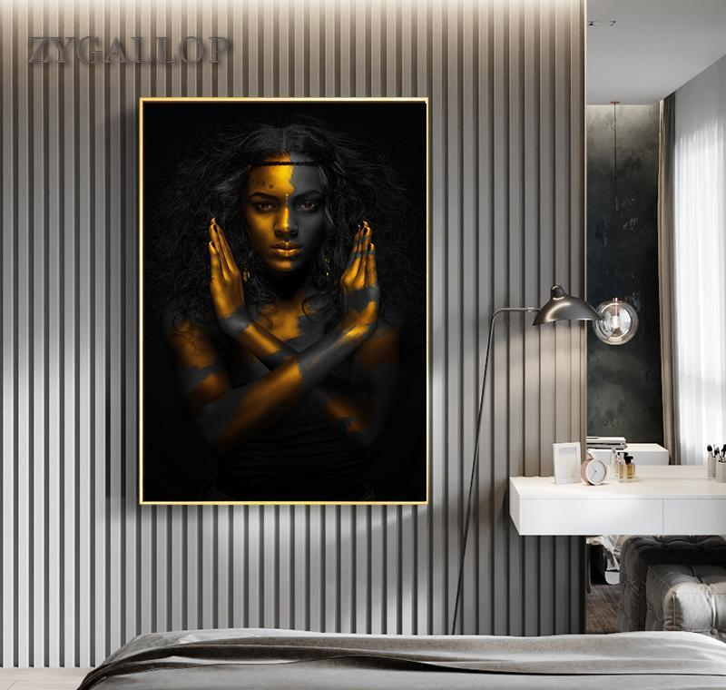 Decoration Woman Art African Gold Wall Room Painting Canvas Cuadro Paintings Living Woman Pictures Home For Black Posters Modern jllEk