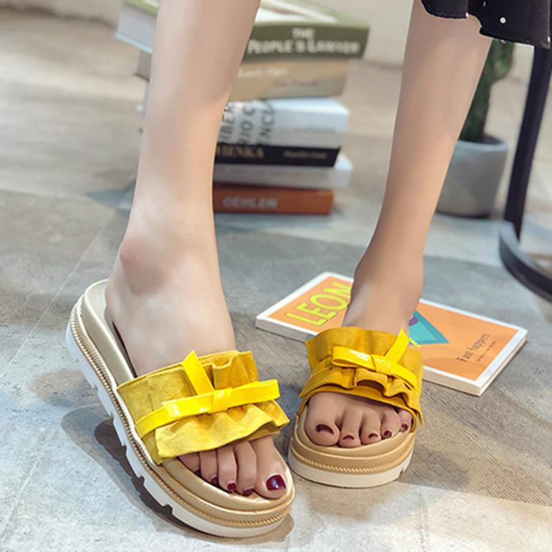 Amarelo Grosso Inferior Plataforma Chinelos mulheres Verão leves Cunhas Sandals Mulher Outdoor flip flops Casual Ladies