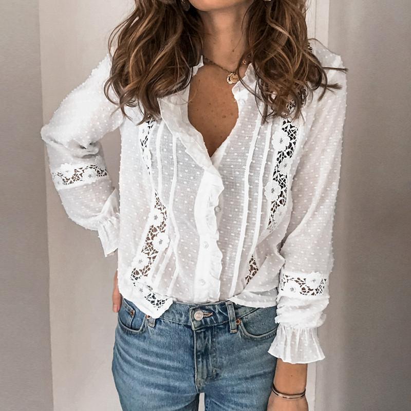 Kadın Bluz Gömlek Kadınlar Dantel Tığ Bluz Zarif 2021 Ruffles Gömlek İlkbahar Sonbahar Seksi V Yaka Fener Uzun Kollu Moda Hollow