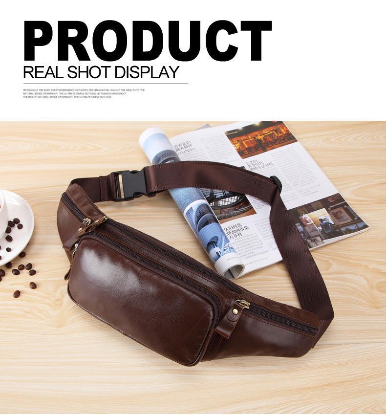 Мужская натуральная кожа Crossbody сумка водонепроницаемый путешествия Противоугонная талии мешок большой емкости Пешеходные сотовый телефон карманный