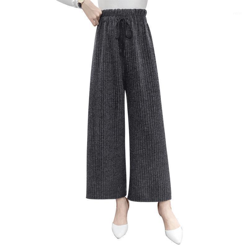 Rahat Buzağı-Uzunluk Bayan Yün Geniş Bacak Pantolon Katı Yüksek Düz Yün Pantolon Elastik Bel Sashes Artı Boyutu1