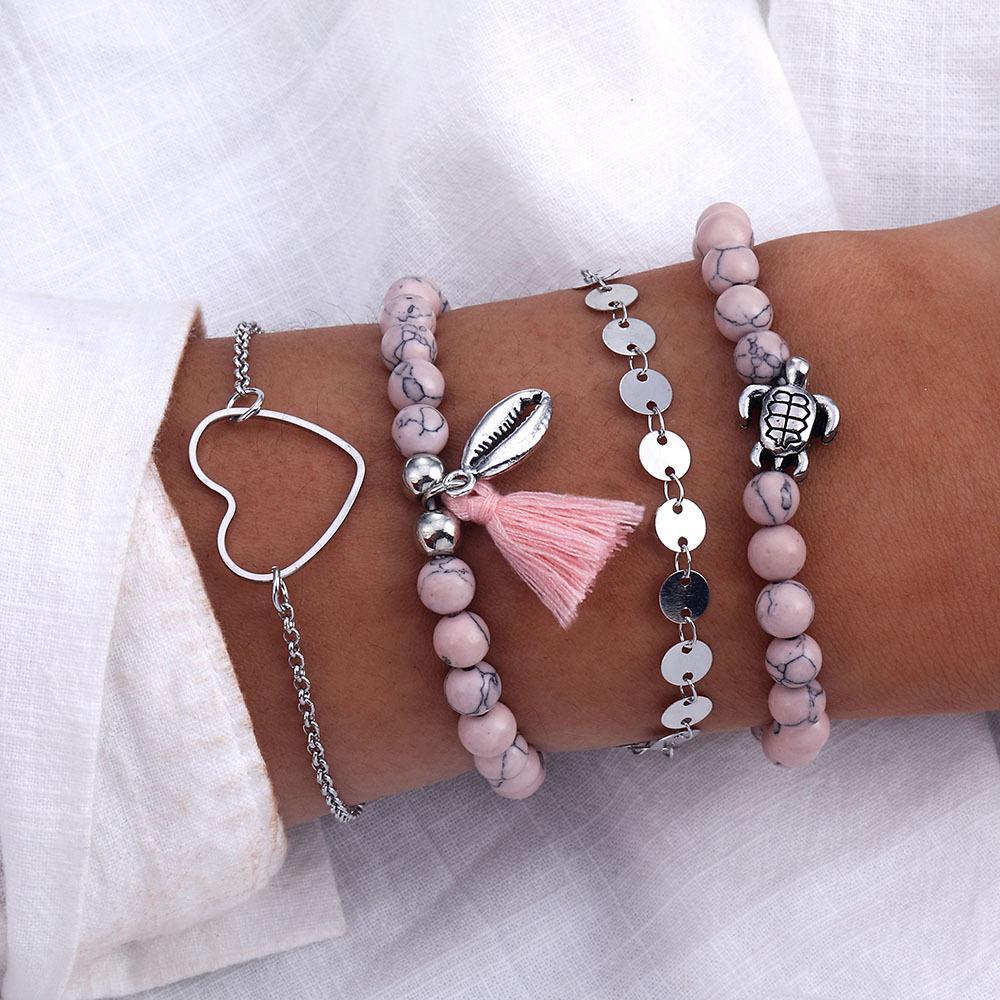 Gioielli FAMSHIN cuore dell'annata insieme del braccialetto per le donne Ragazze Boemia Turtle Shell Beads nappa BRACCIALE femminile di moda