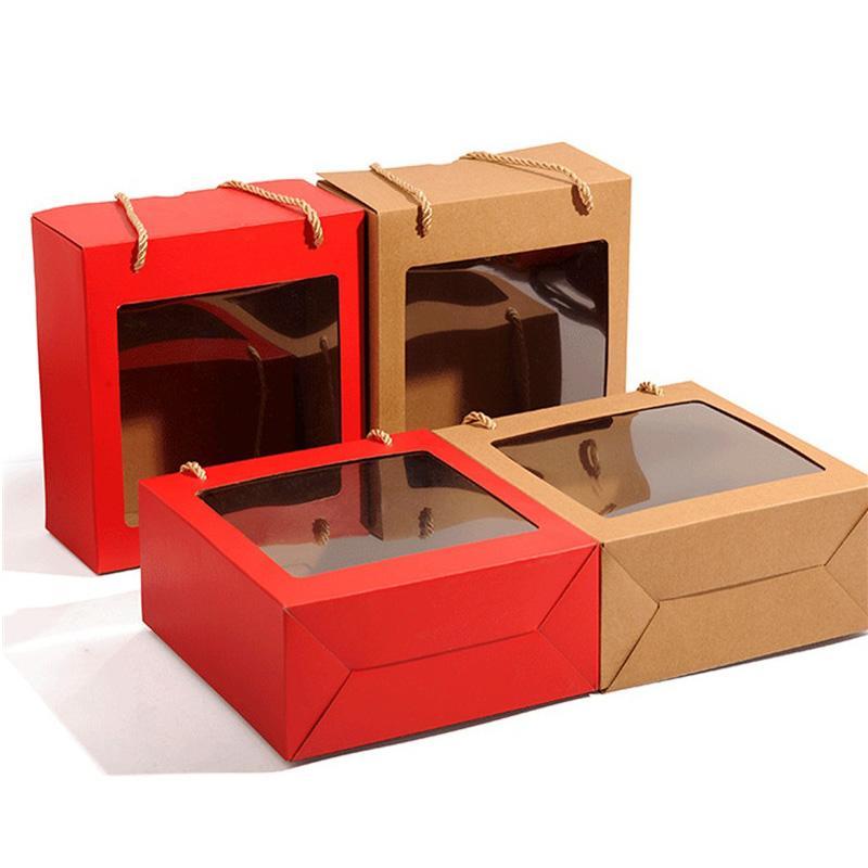 Kraft Paper Box Christmas Prezent Pakowanie Pudełka Pudełka Okno Cukierki / Ciasto / Cookie Display Box dla Baby Shower Ślub LX3190
