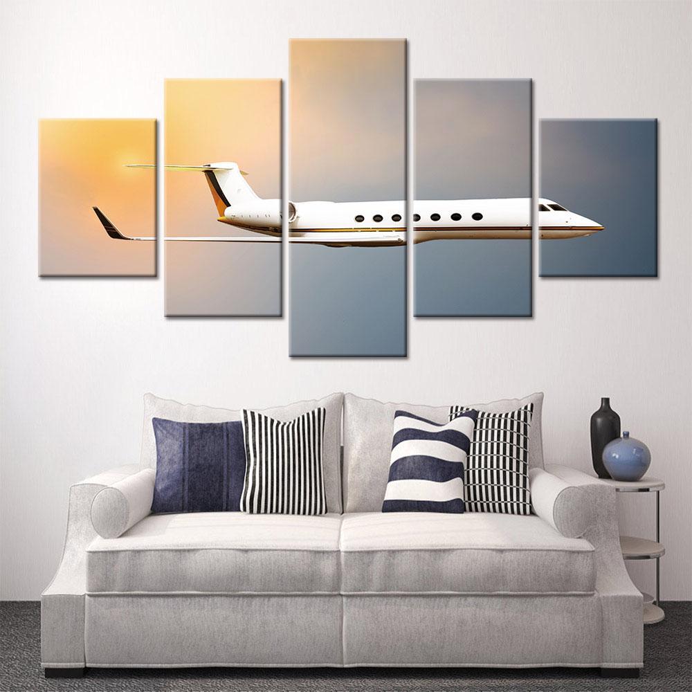 5 pannelli aeroplano parete paesaggio tela pittura murale arte Poster e stampe immagini murali per soggiorno domestico decorativo