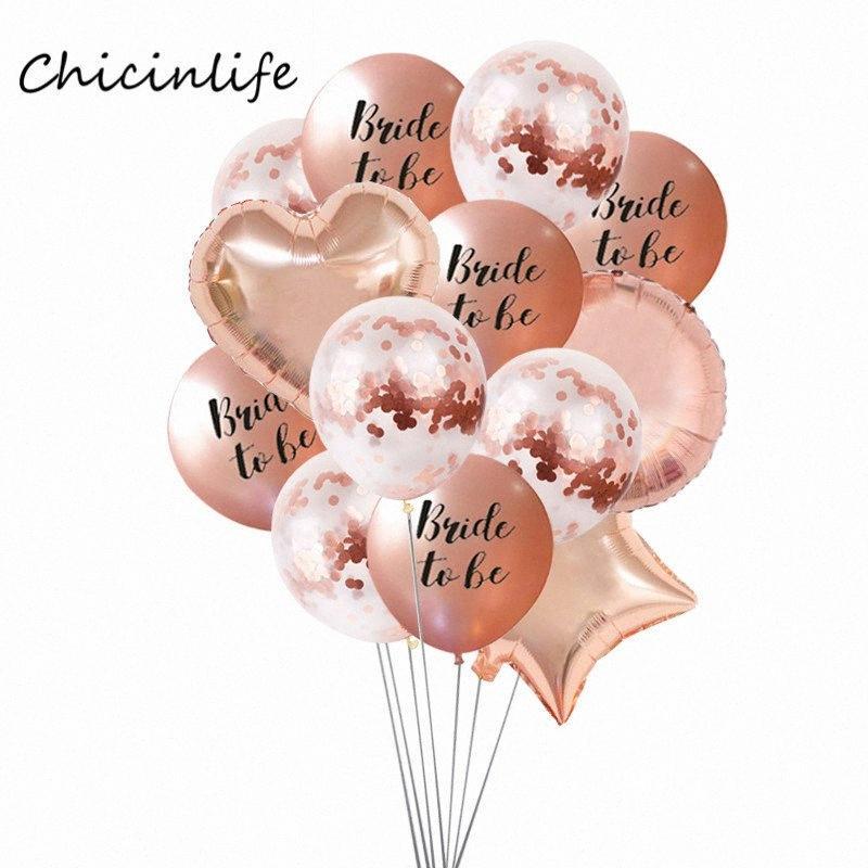 Chicinlife Rose Gold Bride d'or pour être des ballons en latex Heart Star Balloon Bachelorette Bachelorette Decoration 5JS7 #