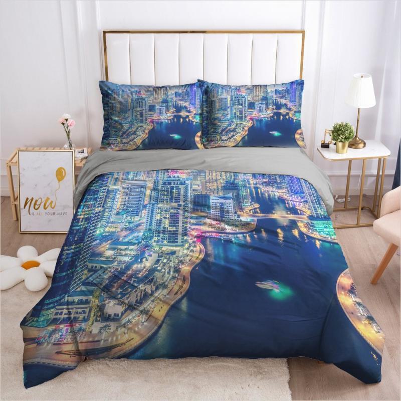 3D Tasarım Nevresim Setleri Yatak Seti 3 adet Yorgan Kapakları Battaniye Kılıfı Yatak Örtüleri Şehir Manzaraları Kral Kraliçe Boyutu Ev Tekstili