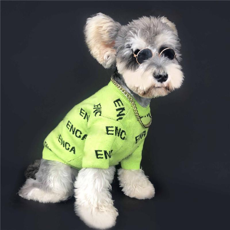 Novos animais de estimação blusas de lã moda carta impressa pet de tricô moletom elegante elástico schnauzer bichon traje vestuário