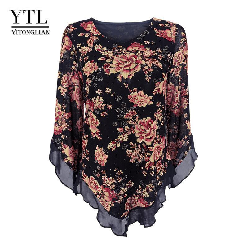 Yitonglian Плюс Размер рубашка Женщина 2020 Блуза Цветочного мундира Tops Casual Flare рукав Длинных рубашек кофточки blusas элегантного H369R