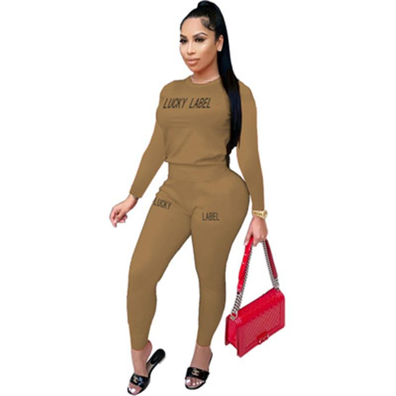 ŞANSLI ETİKET Bayanlar takımları Moda Trend Yuvarlak Yaka Uzun Kollu Pantolon eşofman Tasarımcı Kadın Yeni Casual Slim Pantolon 2adet Suits Tops
