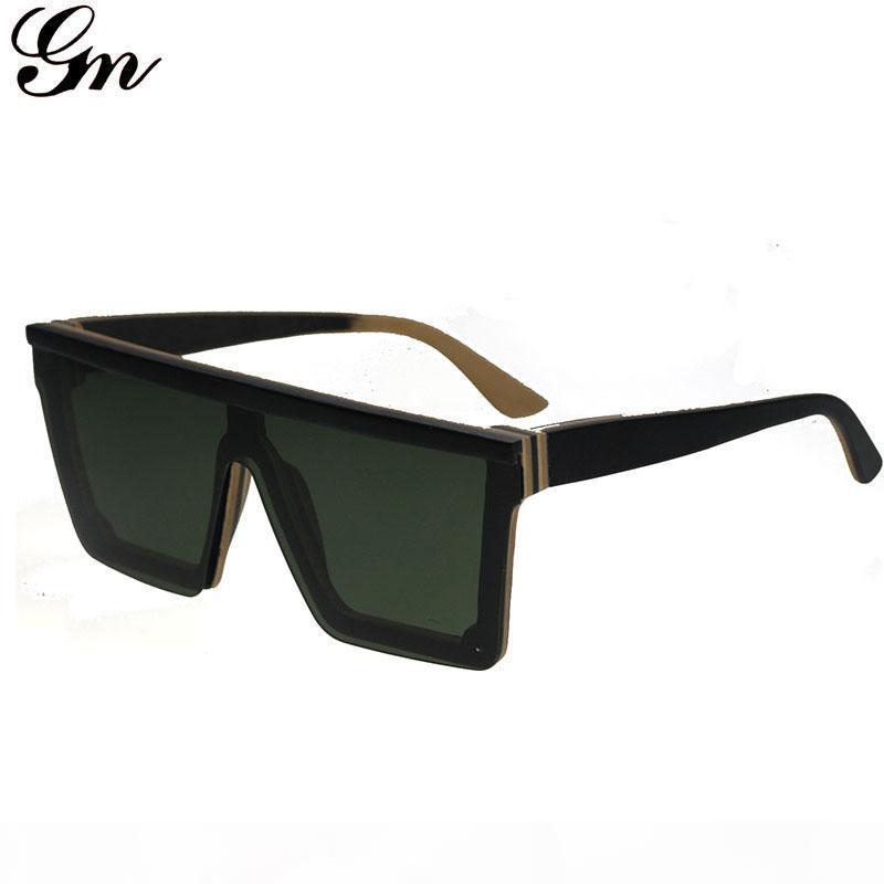 G m Flat-Topp-Bambusholz-Übergroße eckige Gläser Sonnenbrillen Frauen des Sommers 2018 Klassische Sonnenbrille für Frauen mit großen S