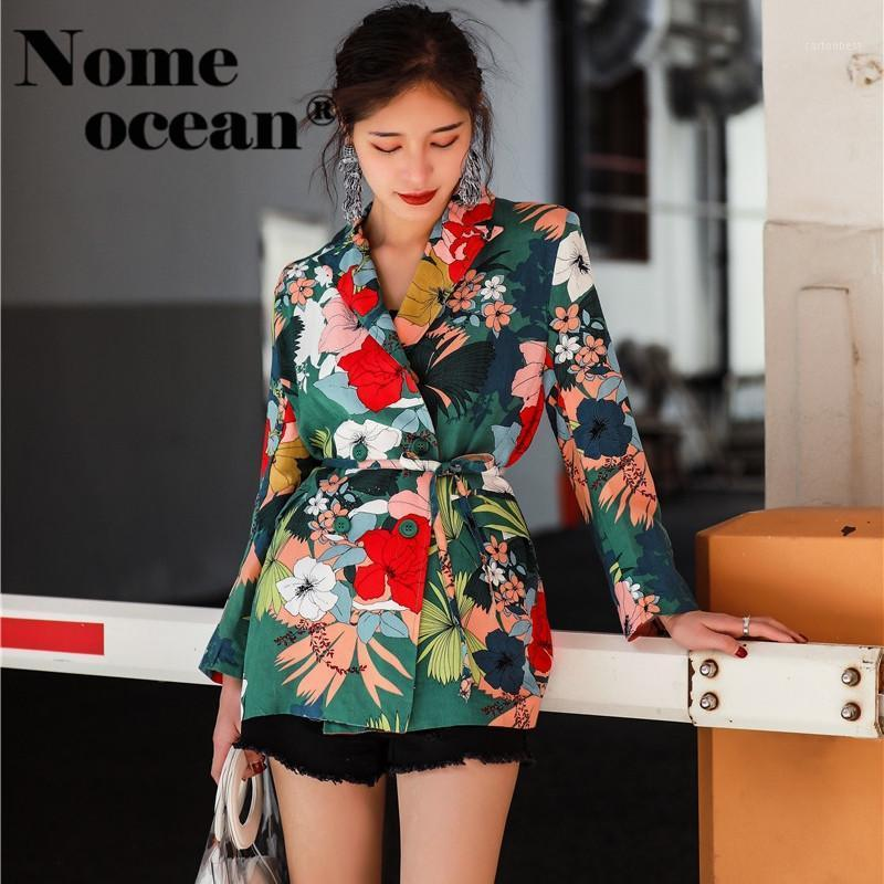 2020 Blazers de verano Blazers Floral Estampado Vintage Jackets Chaquetas Tencel Lino Encaje-up Cintura Abrigos de moda Blazer Traje M180426041