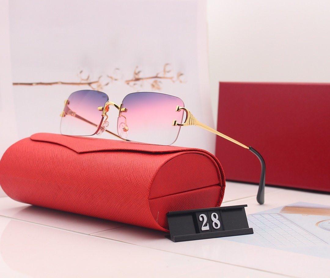 Neue Büffel Horn Gläser Randlose Sonnenbrille Für Männer Womens Mode Sporst Gold Metall Leopardrahmen Eyewear Rote Lunettes Kommen Sie mit Kisten 28