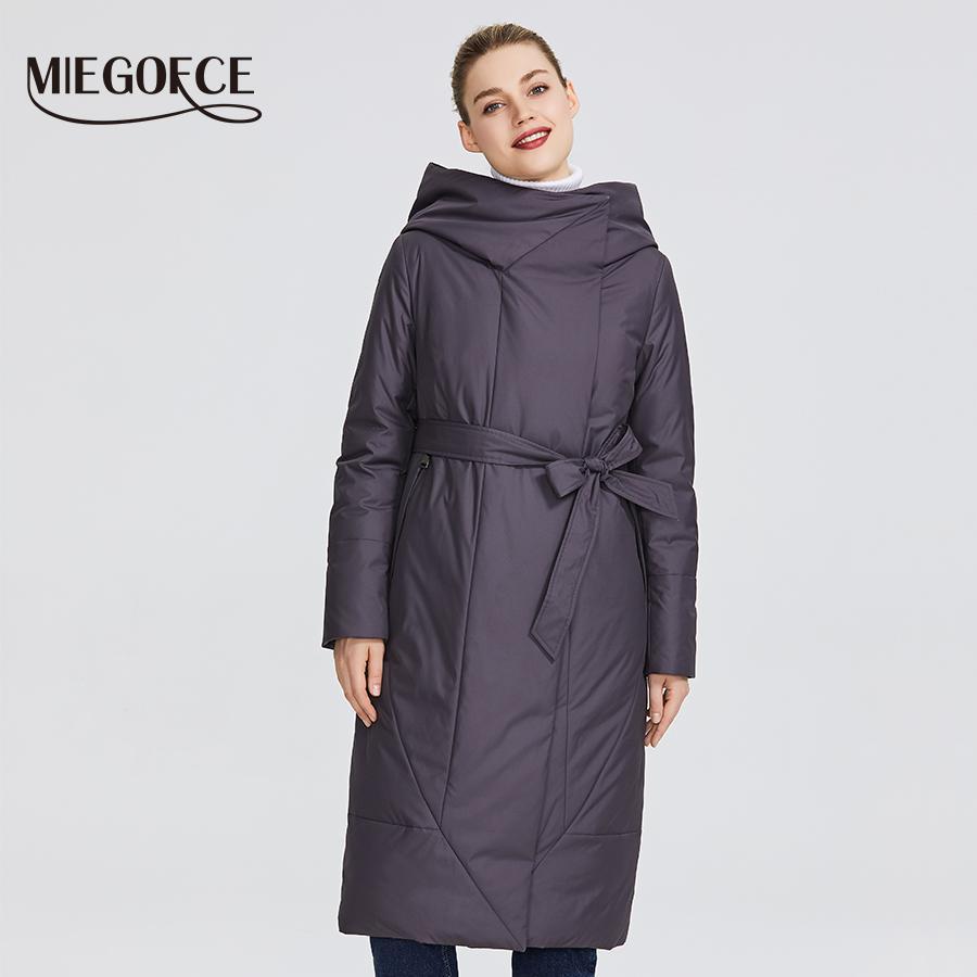 영구 칼라 패딩 재킷 MIEGOFCE 새로운 컬렉션 여성 코트와 윌이 그림 201,012 강조하는 벨트를 가지고