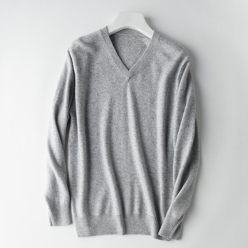 2021 NUEVOS Jerseys básicos para hombres 100% de suéter de cachemira tejido o ganchillo V-Color Masculino Punto plano de los suéteres de invierno debe comprar K884