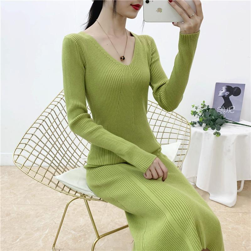 Singrain Mujeres largos suéter vestido de manga larga ropa de punto casual elástico elástico elegante vestido de oficina sólido cálido invierno tejido1