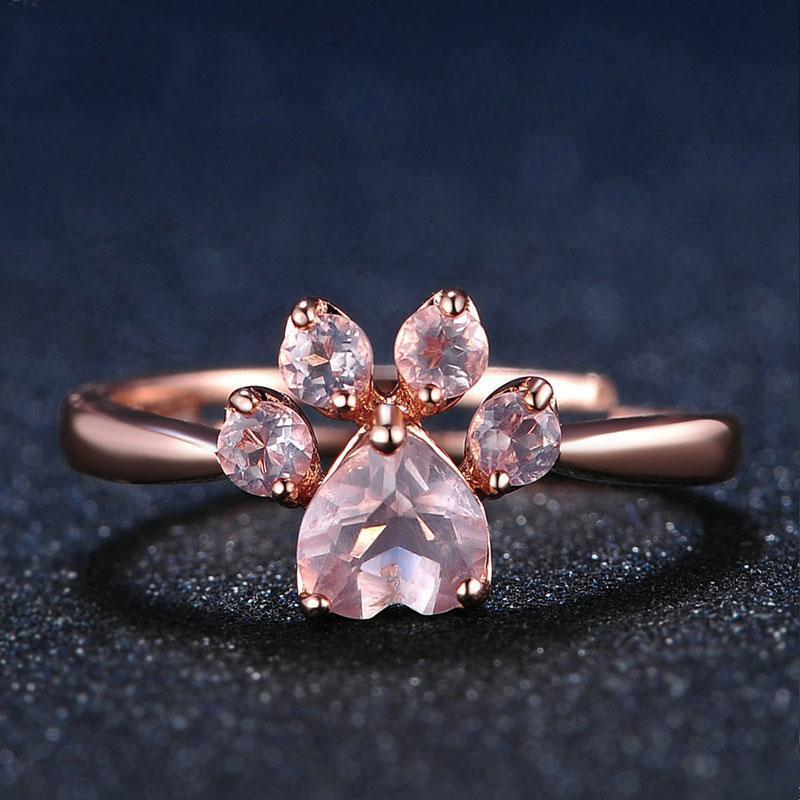Anillos de cristal gato rosa de moda para mujeres 2020 regalos de la joyería Nuevo de oro rosa de color de compromiso del partido de las muchachas del anillo ajustable