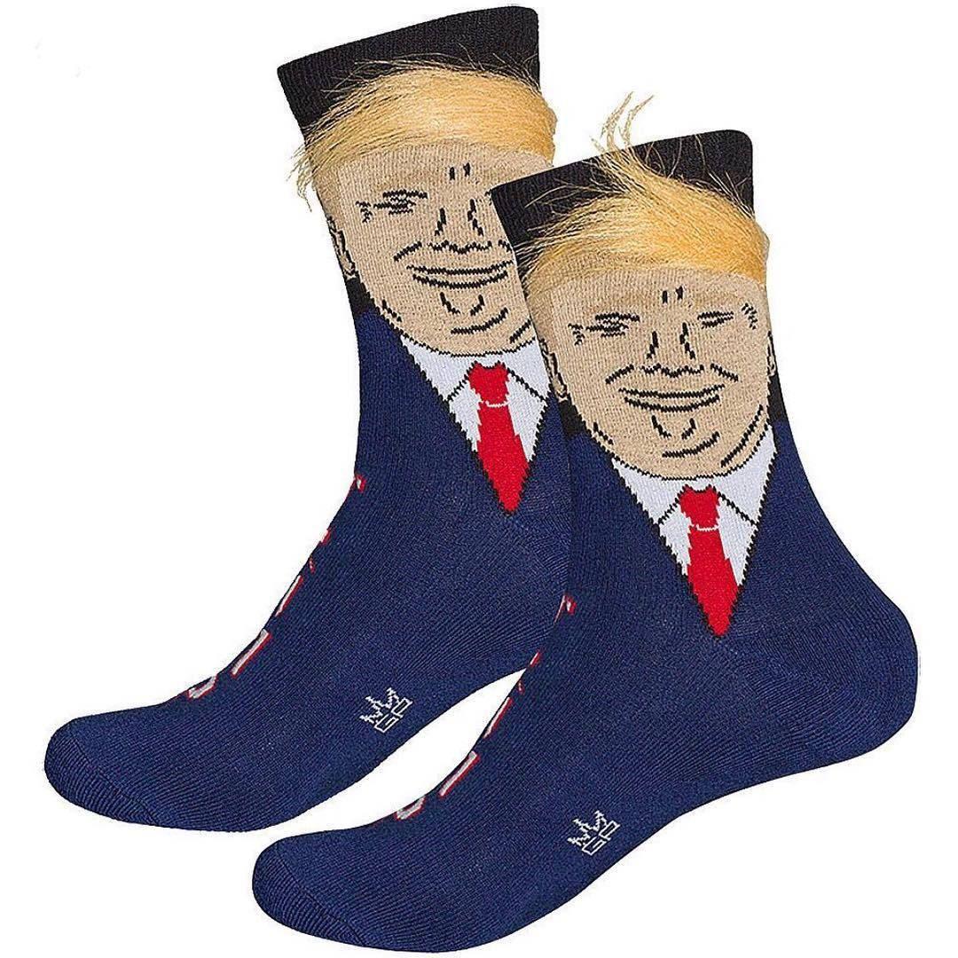 Hombres Mujeres Trump Crew calcetines amarillos pelo divertido deportes de la historieta medias de los calcetines de Hip Hop del calcetín KKA2133