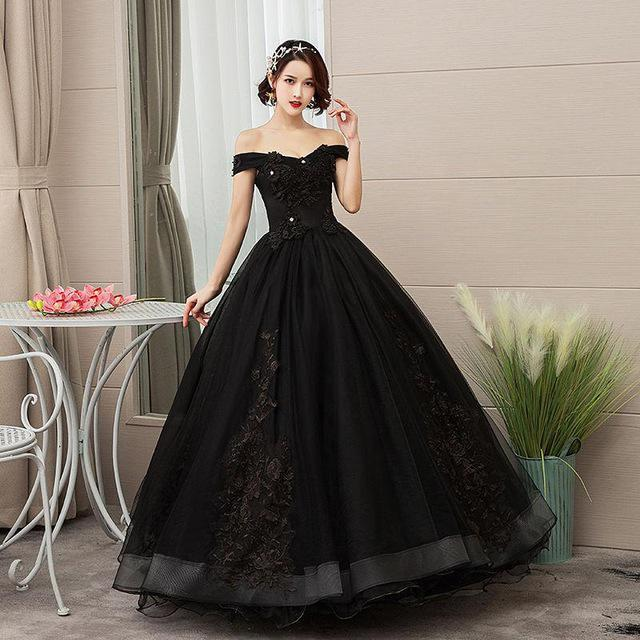 2021 New Sexy Black Flowers Appliques Bateau Ball Gown Quinceanera Dresses Lace Up Sweet 16 Dress Debutante Prom Party Dress Custom Made 047