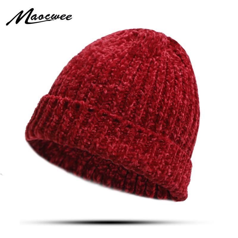 Unisex Шапочки зимы шлема ребристый Вязаная Short Cap Solid Color Skullcap Багги ретро Beanie Hat громоздкая Грубый Thread Soft