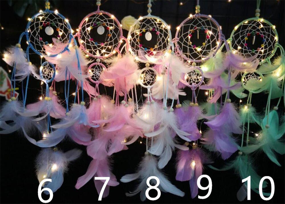 Chica corazón Dream Catcher National Feather Ornamentos Cintas de encaje Plumas Luces envueltas Chicas Sala Decoración Dreamcatcher