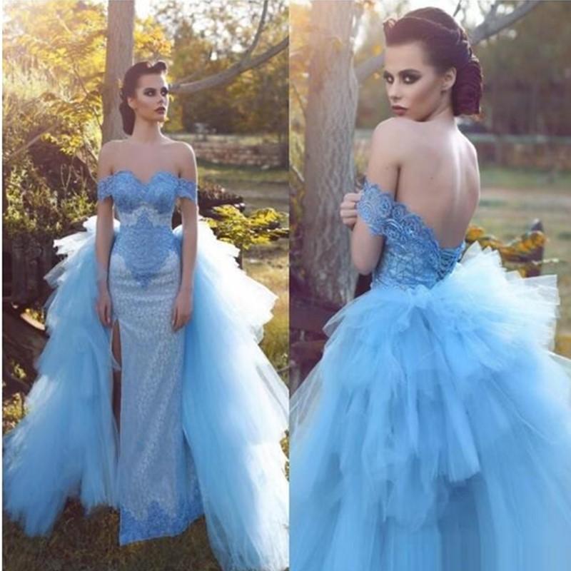 Vestidos de noche de la sirena árabe azul cielo azul fuera del hombro vestidos de baile de baile encaje alto división con tul ruchado vestido de gran cantidad de campestres vestidos de celebridad