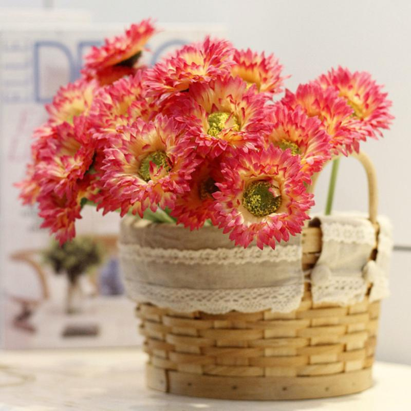 5pc Artificial Flower Silk Daisy Faux Mums Flower Chrysanth Gerbera for Wedding Bridal Bridesmaid Home Decor Office new