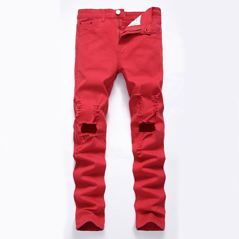 Hmily Latchwork Джинсы Мужчины Разорванные джинсы Модный Бренд поцарапал Biker Hole Джинсовая прямая стройная подходящая повседневная красная штанса1