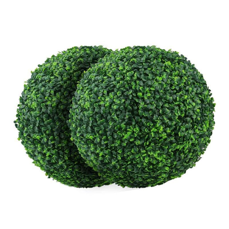 2 PCS 15.7 pulgadas Planta artificial Topiary Ball Faux Boxwood Bolas decorativas para patio trasero, balcón, jardín, decoración de boda