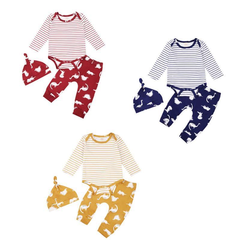 Zestawy odzieżowe 3 sztuk urodzony zwierząt druk jesień garnitur stroje, niemowląt dziewczyny chłopcy z długim rękawem okrągłe szyja w paski dorywczo romper + spodnie + zestaw kapeluszowy