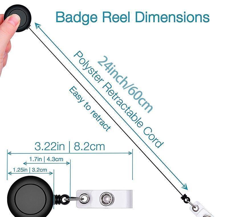 Titular de la tarjeta de la identificación de la identificación del carrete retráctil + kit de pase de pase de paso claro vertical de doble cara. Nylon jlloqw sinabag