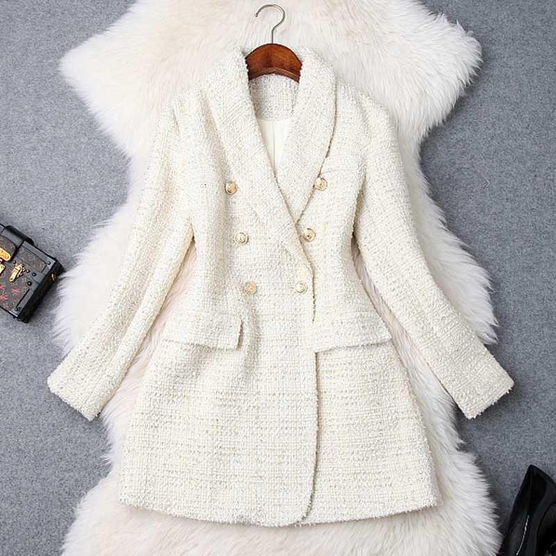 Runway 2020 Designer Blazer Damen Double Breasted Metallknopf Langarm Kutsche Kragenjacke Wolle Mischungen Tweed Blazer Mantel