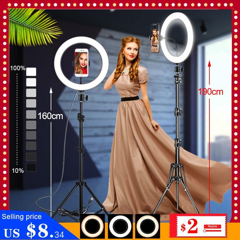 26CM/16CM Photography LED Selfie Ring Light Dimmable Camera Phone Ringlight Lamp With Stand Tripods For Makeup Video Live Studio