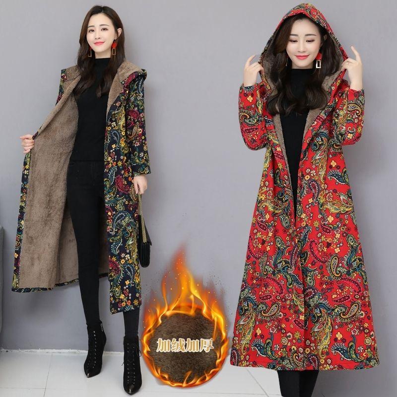 Rouge chinoise Floral femmes hiver veste doublure en polaire Vintage rembourré manteau d'hiver Femme fleur bleue parka Mesdames coupe-vent 201027