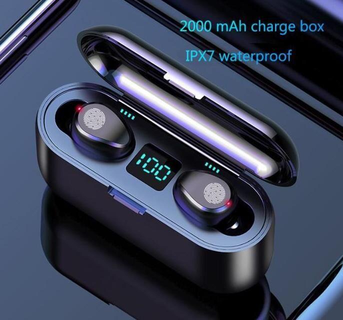Drahtlose Kopfhörer Bluetooth V5.0 F9 TWS drahtloser Bluetooth-Kopfhörer-LED-Display mit 2000mAh Energien-Bank-Headset mit Microphon