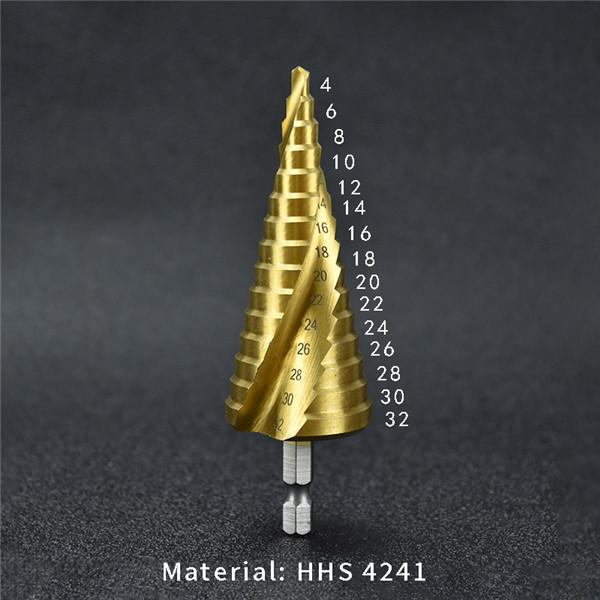 New type pagoda drill bit hexagonal high speed steel high speed steel titanium spiral groove stepped tower hole opener