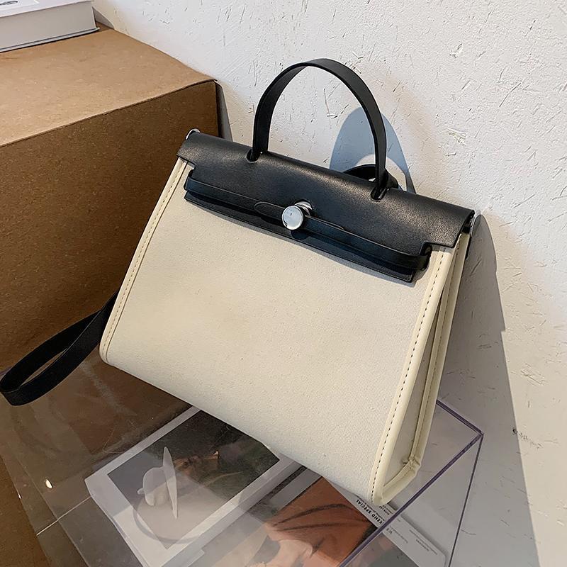 Contrast Color Большая сумка Tote 2021 Fshion Новое Высококачественные Холст Женская Дизайнерская Сумочка Сумка High Организация