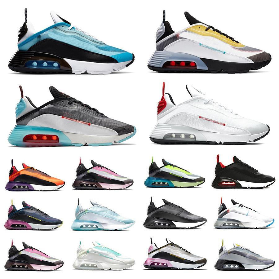 New 2090 Men Women Running Shoes Pure Platinum Clean White Speed Yellow Pink Mens Trainers Chaussures sports sneakers size 36-45