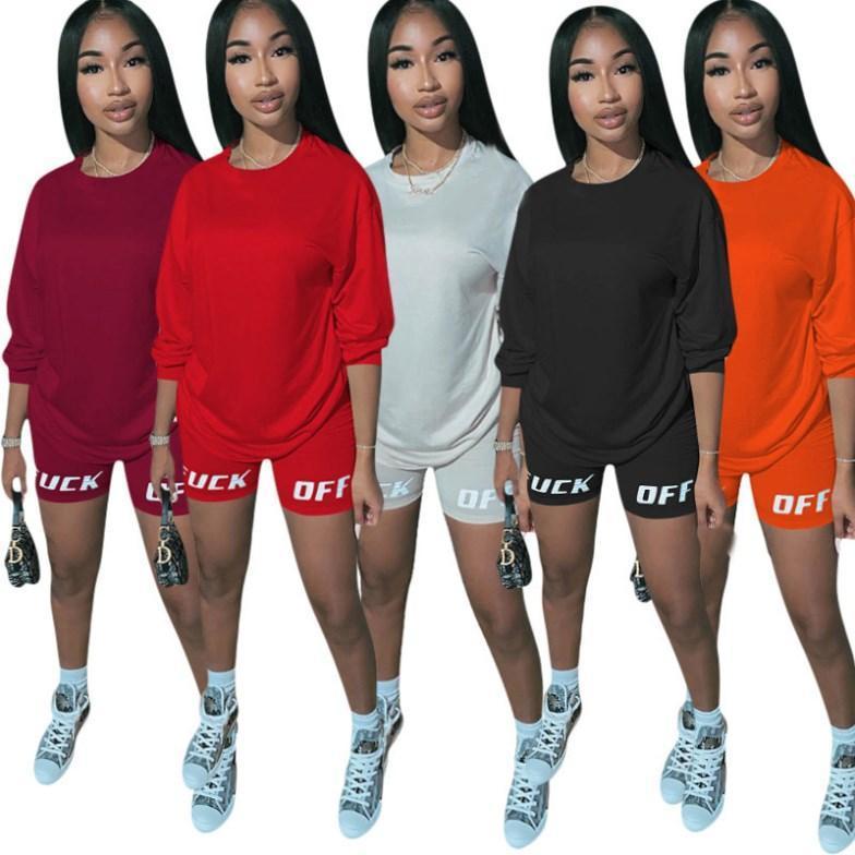 Femmes de sport à manches courtes 2 pièce ensemble survêtement de jogging Sportsuit pantalon sweat-shirt de short de klw3429 costume sport