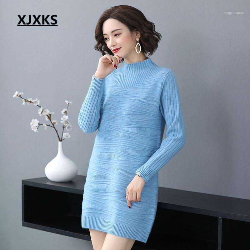 Xjxks cachemire haut de gamme tricoté tricoté pull long pull poule 2020 hiver nouvelle robe de col roulé solide-all-match1