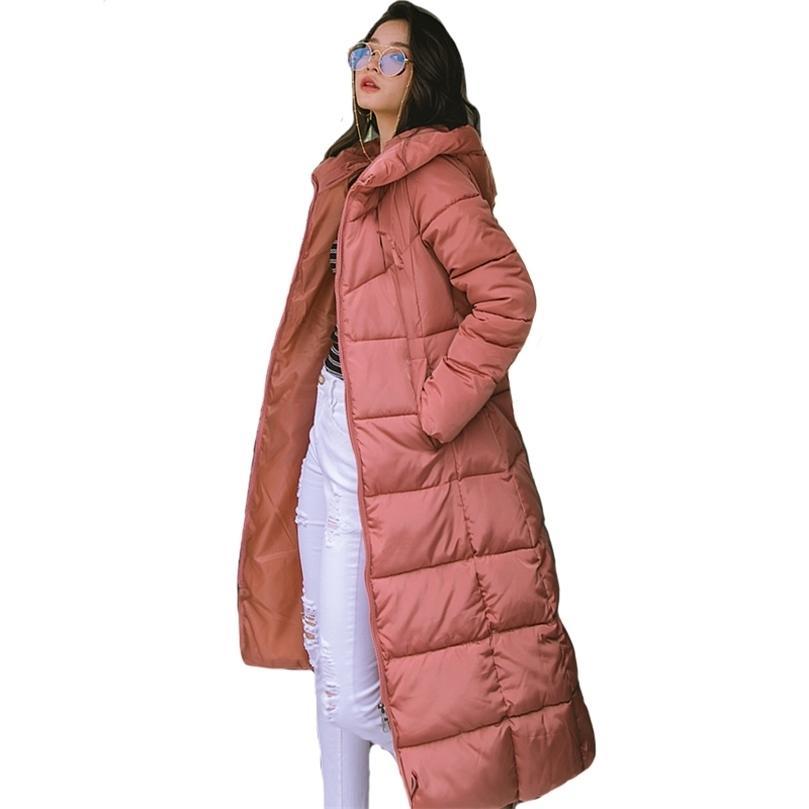 X-Uzun Boy 5XL 6XL Kalın Moda Parkas Kadınlar Cevizli Katı Cepler Kapüşonlu Kış Pamuk Ince Coat Ceketler 201212