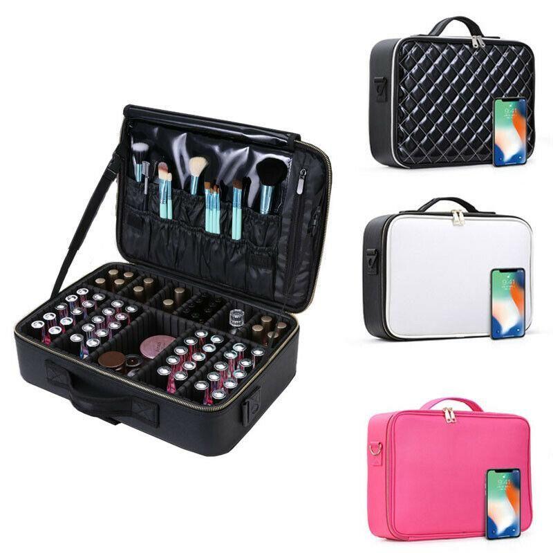 Noenname-null moda mulheres viajar saco cosmético grande capacidade multi-storey profissional maquiagem bolsa cosmético caso