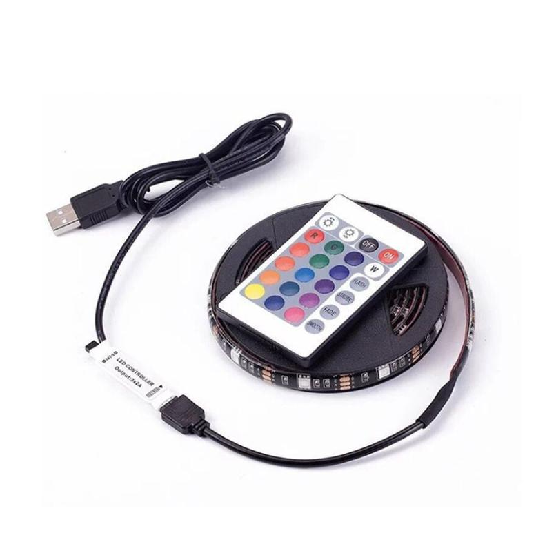 Luz brillante regulable para la luz de fondo de TV Decoración colorida 5050-2M-60 RGB LED luz de tira 1M Tira LED USB con control remoto SMD
