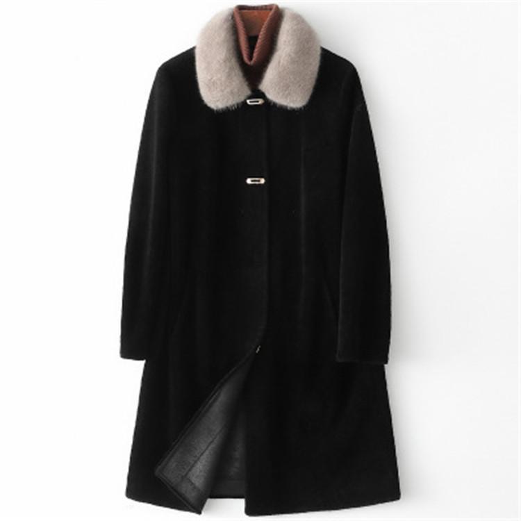 2020 mujeres otoño e invierno nuevo visón collar de piel de espalda cizallamiento abrigo de piel H18